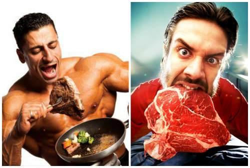 мужчина ест мясо