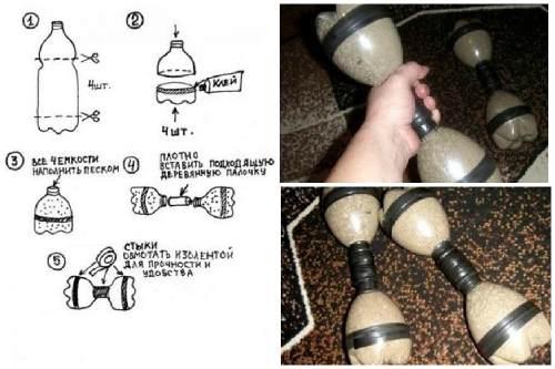 Схема изготовления гантелей из пластиковых бутылок