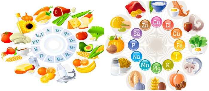 Витамины и минералы в продуктах