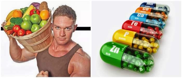 Витамины в продуктах и капсулах